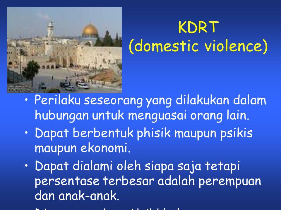 KDRT (domestic violence) •P•Perilaku seseorang yang dilakukan dalam hubungan untuk menguasai orang lain. •D•Dapat berbentuk phisik maupun psikis maupu