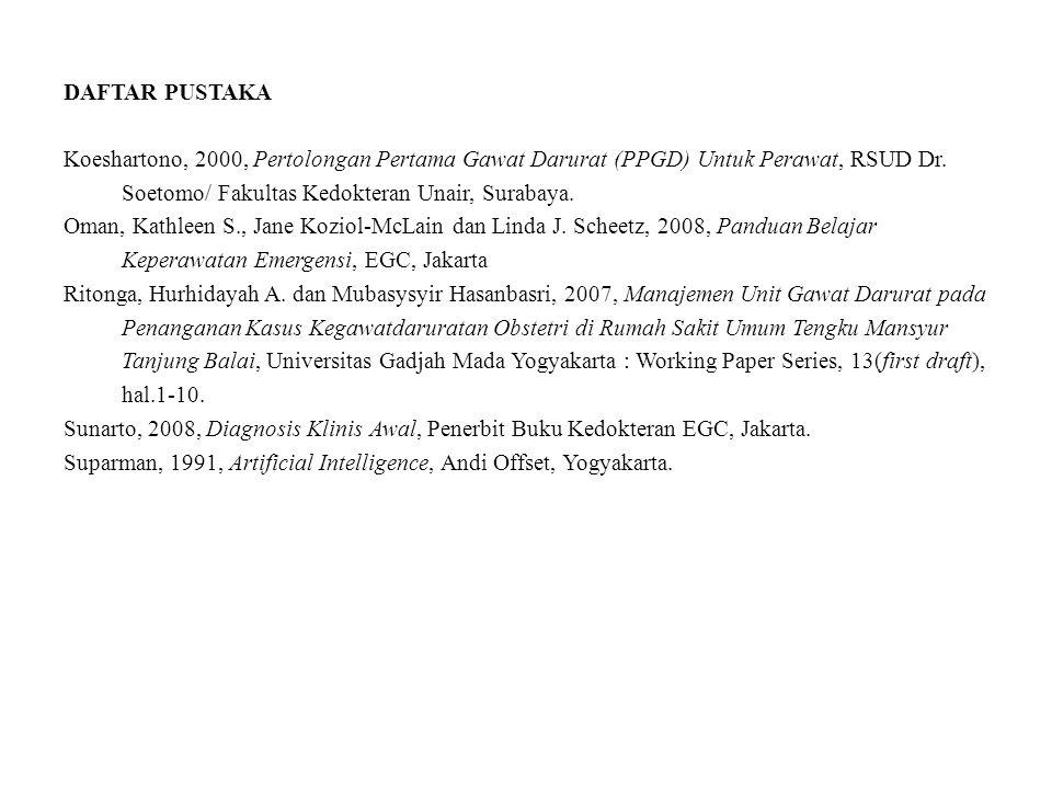 DAFTAR PUSTAKA Koeshartono, 2000, Pertolongan Pertama Gawat Darurat (PPGD) Untuk Perawat, RSUD Dr. Soetomo/ Fakultas Kedokteran Unair, Surabaya. Oman,