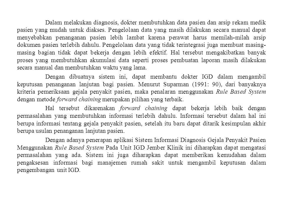 Landasan Teori Diagnosis Gejala Penyakit Pasien pada Unit IGD Menurut Sunarto (2008: 103), diagnosis adalah simpulan dari analisis atas keseluruhan data atau bukti yang telah diperoleh.
