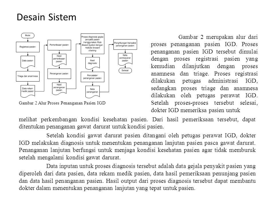 Desain Sistem Gambar 2 merupakan alur dari proses penanganan pasien IGD. Proses penanganan pasien IGD tersebut dimulai dengan proses registrasi pasien