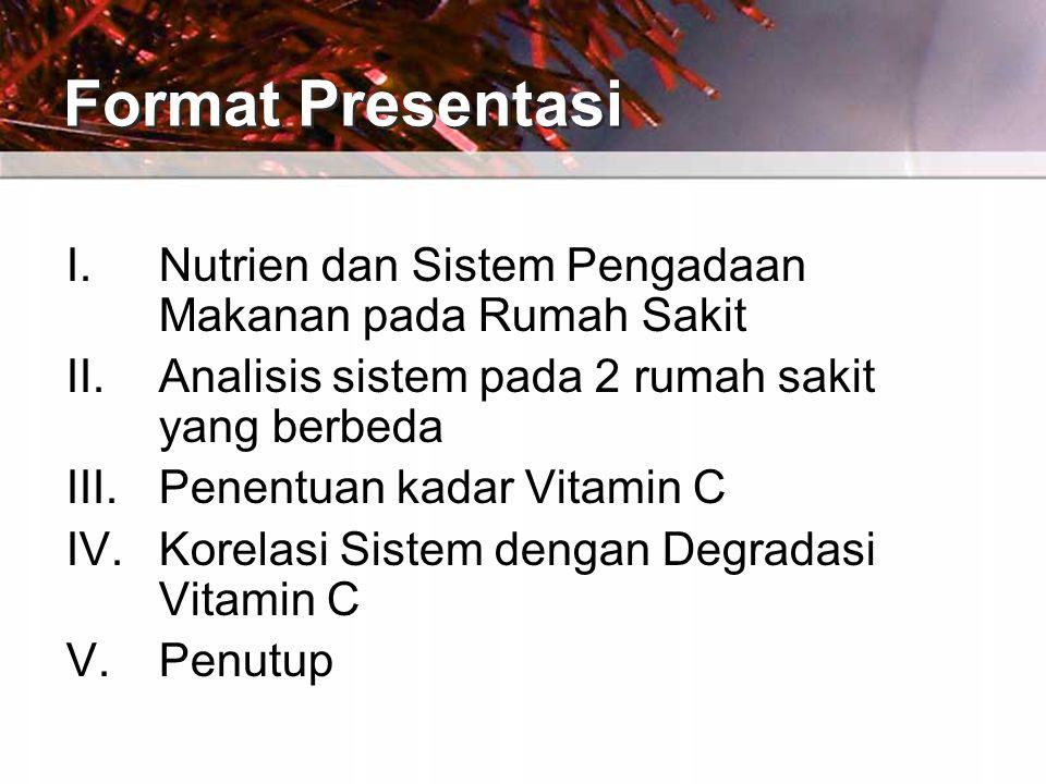 Format Presentasi I.Nutrien dan Sistem Pengadaan Makanan pada Rumah Sakit II.Analisis sistem pada 2 rumah sakit yang berbeda III.Penentuan kadar Vitamin C IV.Korelasi Sistem dengan Degradasi Vitamin C V.Penutup