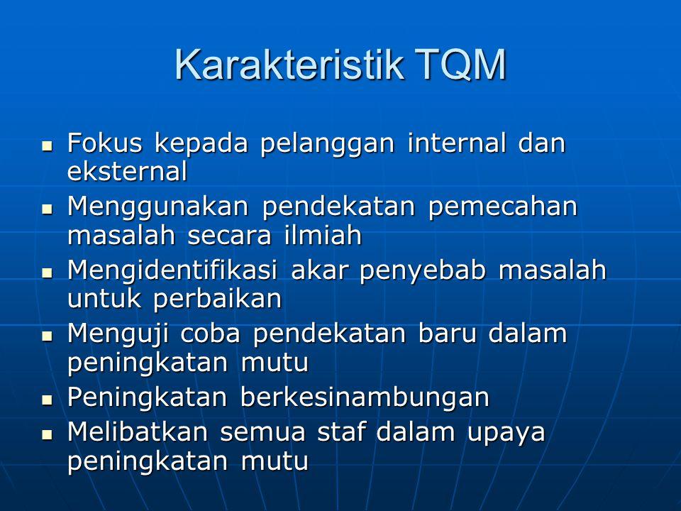 Karakteristik TQM  Fokus kepada pelanggan internal dan eksternal  Menggunakan pendekatan pemecahan masalah secara ilmiah  Mengidentifikasi akar pen
