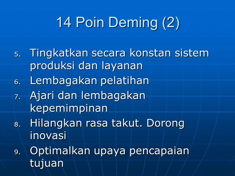 14 Poin Deming (2) 5. Tingkatkan secara konstan sistem produksi dan layanan 6. Lembagakan pelatihan 7. Ajari dan lembagakan kepemimpinan 8. Hilangkan