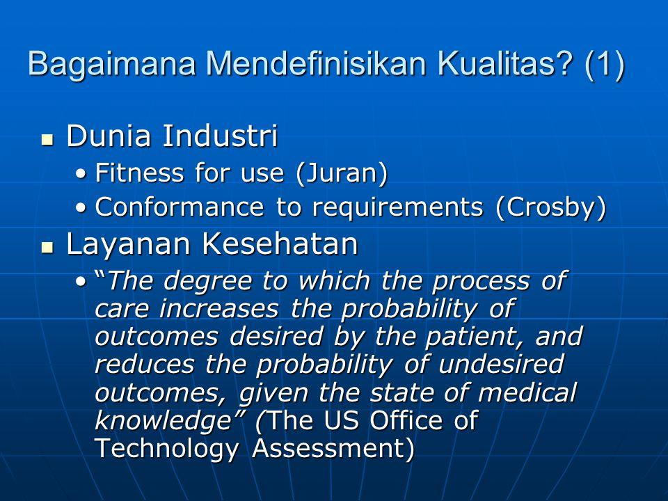 "Bagaimana Mendefinisikan Kualitas? (1)  Dunia Industri •Fitness for use (Juran) •Conformance to requirements (Crosby)  Layanan Kesehatan •""The degre"
