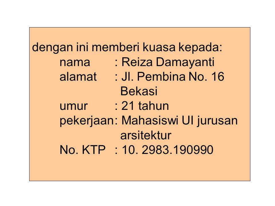 Untuk mengambilkan uang kiriman via poswesel sebesar Rp 500.000,00 dengan pengirim: nama: Ir.