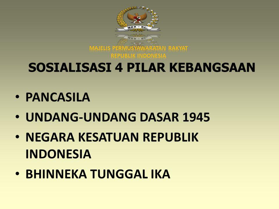 SOSIALISASI 4 PILAR KEBANGSAAN • PANCASILA • UNDANG-UNDANG DASAR 1945 • NEGARA KESATUAN REPUBLIK INDONESIA • BHINNEKA TUNGGAL IKA