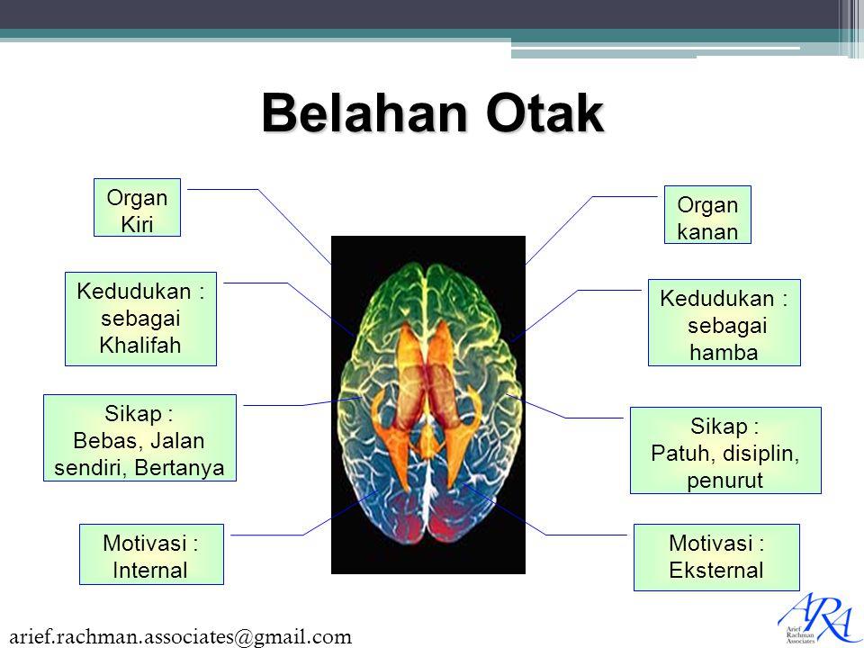 arief.rachman.associates@gmail.com Belahan Otak Organ Kiri Organ kanan Kedudukan : sebagai Khalifah Sikap : Bebas, Jalan sendiri, Bertanya Motivasi :