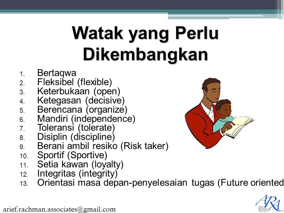 arief.rachman.associates@gmail.com  Bertaqwa  Fleksibel (flexible)  Keterbukaan (open)  Ketegasan (decisive)  Berencana (organize)  Mandir