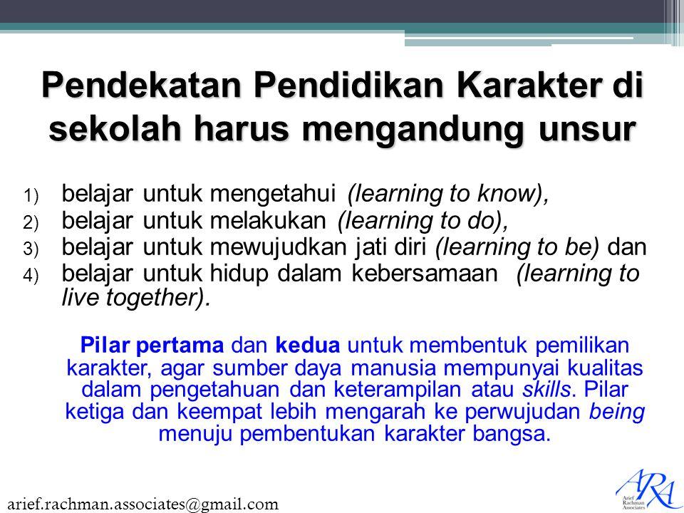 arief.rachman.associates@gmail.com Pendekatan Pendidikan Karakter di sekolah harus mengandung unsur 1) belajar untuk mengetahui (learning to know), 2)