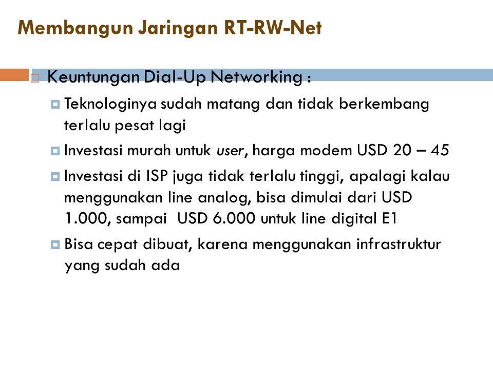 Membangun Jaringan RT-RW-Net  Keuntungan Dial-Up Networking :  Teknologinya sudah matang dan tidak berkembang terlalu pesat lagi  Investasi murah u