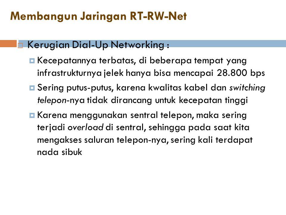 Membangun Jaringan RT-RW-Net  Kerugian Dial-Up Networking :  Kecepatannya terbatas, di beberapa tempat yang infrastrukturnya jelek hanya bisa mencap