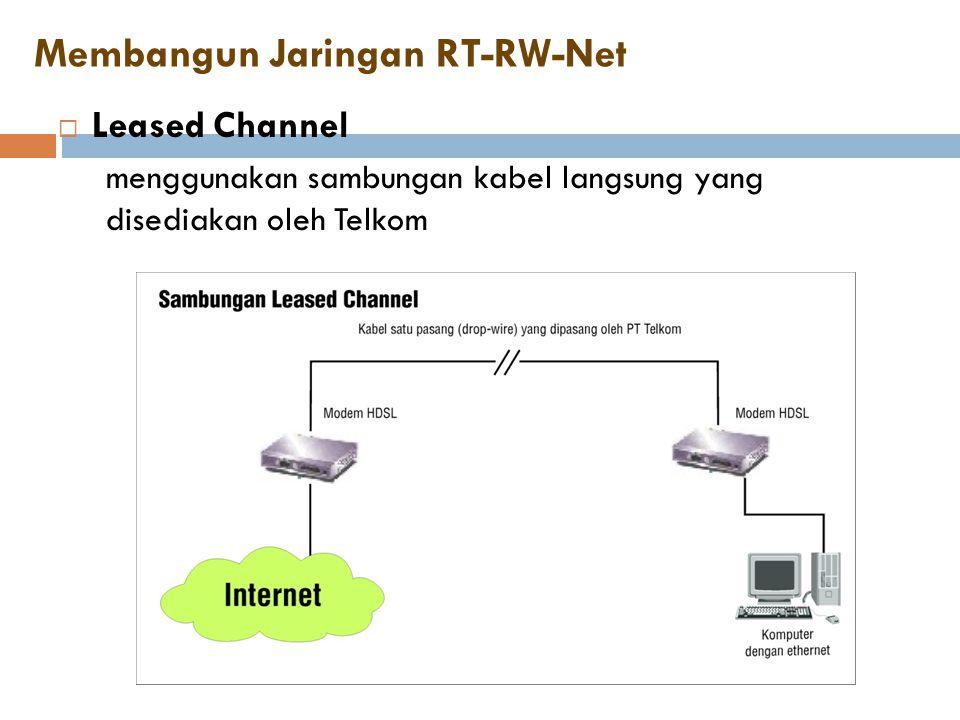Membangun Jaringan RT-RW-Net  Leased Channel menggunakan sambungan kabel langsung yang disediakan oleh Telkom