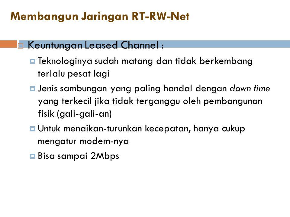 Membangun Jaringan RT-RW-Net  Keuntungan Leased Channel :  Teknologinya sudah matang dan tidak berkembang terlalu pesat lagi  Jenis sambungan yang