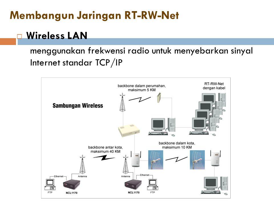 Membangun Jaringan RT-RW-Net  Wireless LAN menggunakan frekwensi radio untuk menyebarkan sinyal Internet standar TCP/IP