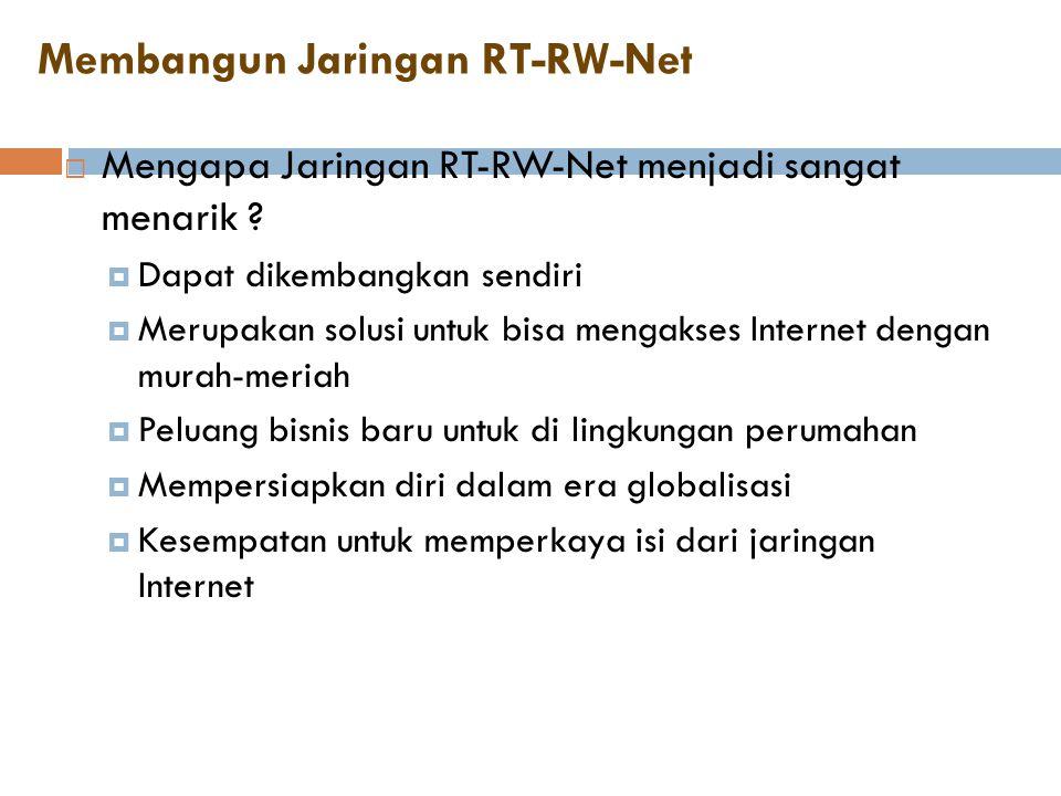 Membangun Jaringan RT-RW-Net  Mengapa Jaringan RT-RW-Net menjadi sangat menarik ?  Dapat dikembangkan sendiri  Merupakan solusi untuk bisa mengakse