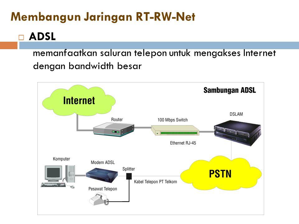 Membangun Jaringan RT-RW-Net  ADSL memanfaatkan saluran telepon untuk mengakses Internet dengan bandwidth besar