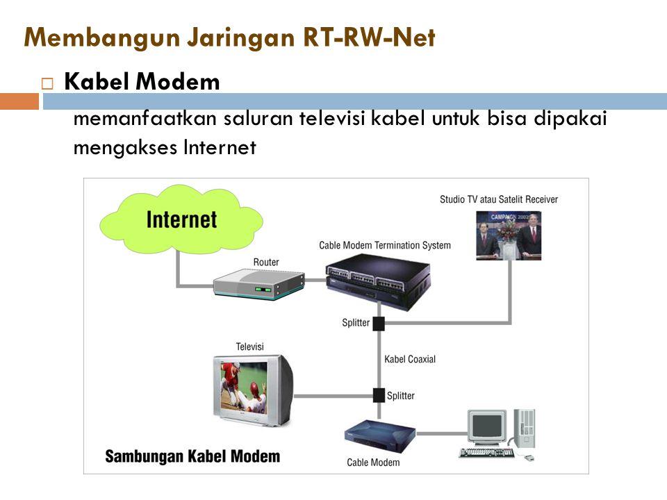 Membangun Jaringan RT-RW-Net  Kabel Modem memanfaatkan saluran televisi kabel untuk bisa dipakai mengakses Internet