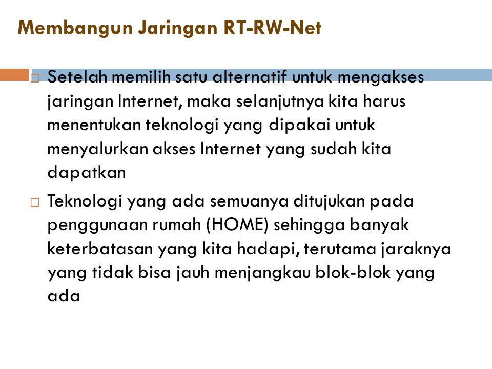 Membangun Jaringan RT-RW-Net  Setelah memilih satu alternatif untuk mengakses jaringan Internet, maka selanjutnya kita harus menentukan teknologi yan