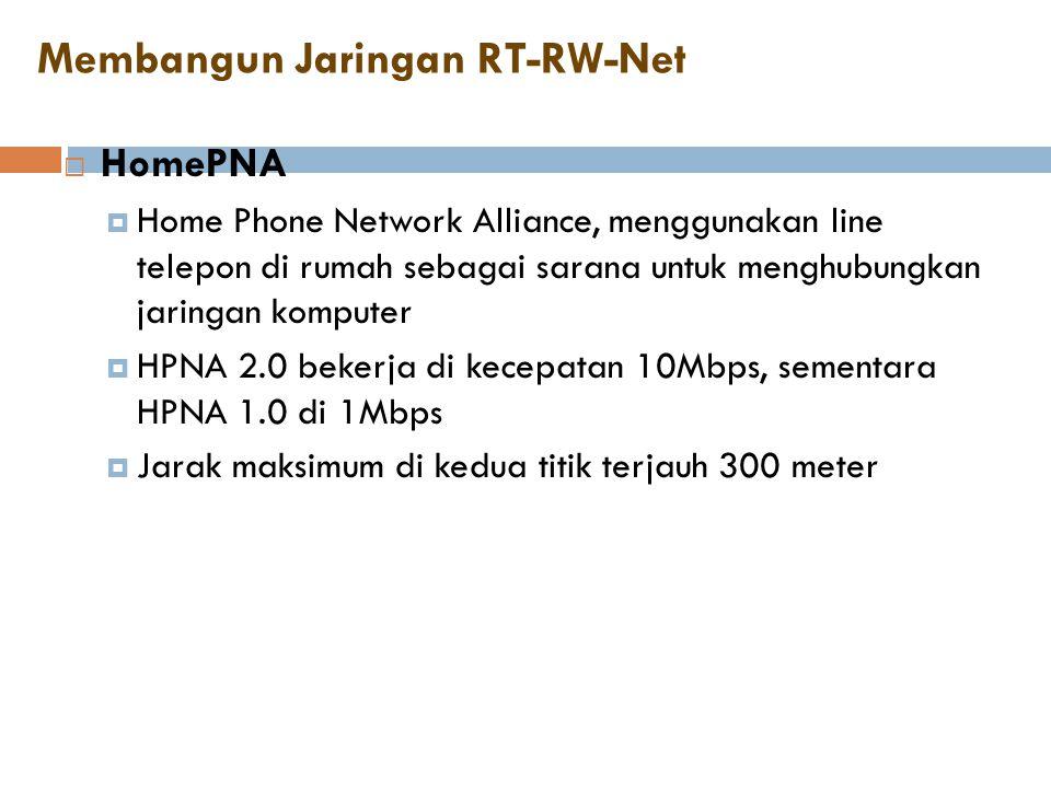  HomePNA  Home Phone Network Alliance, menggunakan line telepon di rumah sebagai sarana untuk menghubungkan jaringan komputer  HPNA 2.0 bekerja di