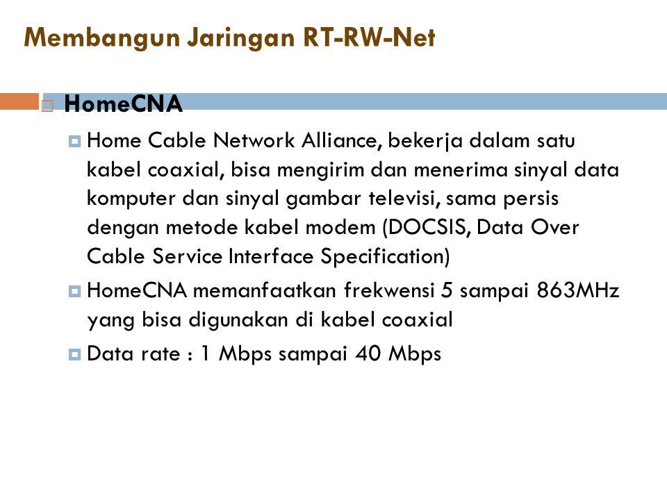 Membangun Jaringan RT-RW-Net  HomeCNA  Home Cable Network Alliance, bekerja dalam satu kabel coaxial, bisa mengirim dan menerima sinyal data kompute