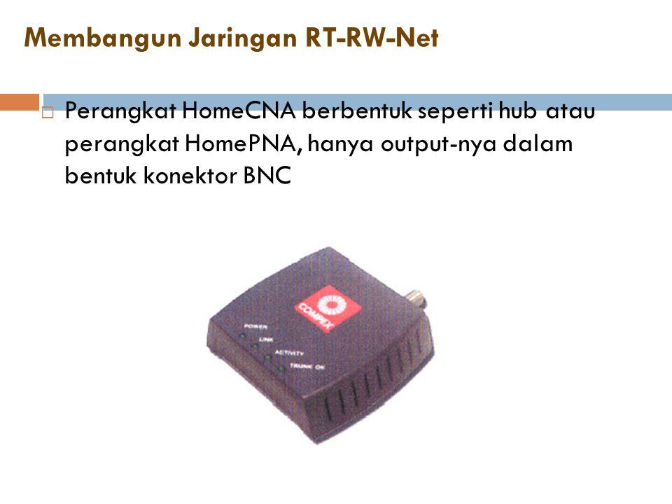 Membangun Jaringan RT-RW-Net  Perangkat HomeCNA berbentuk seperti hub atau perangkat HomePNA, hanya output-nya dalam bentuk konektor BNC