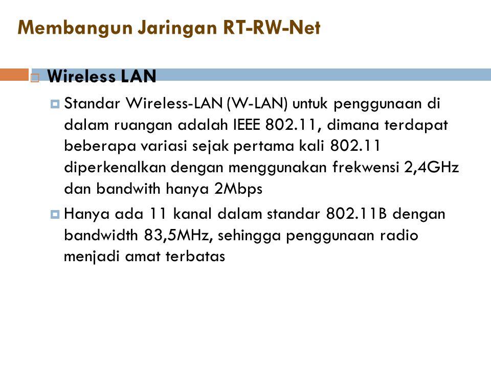 Membangun Jaringan RT-RW-Net  Wireless LAN  Standar Wireless-LAN (W-LAN) untuk penggunaan di dalam ruangan adalah IEEE 802.11, dimana terdapat beber