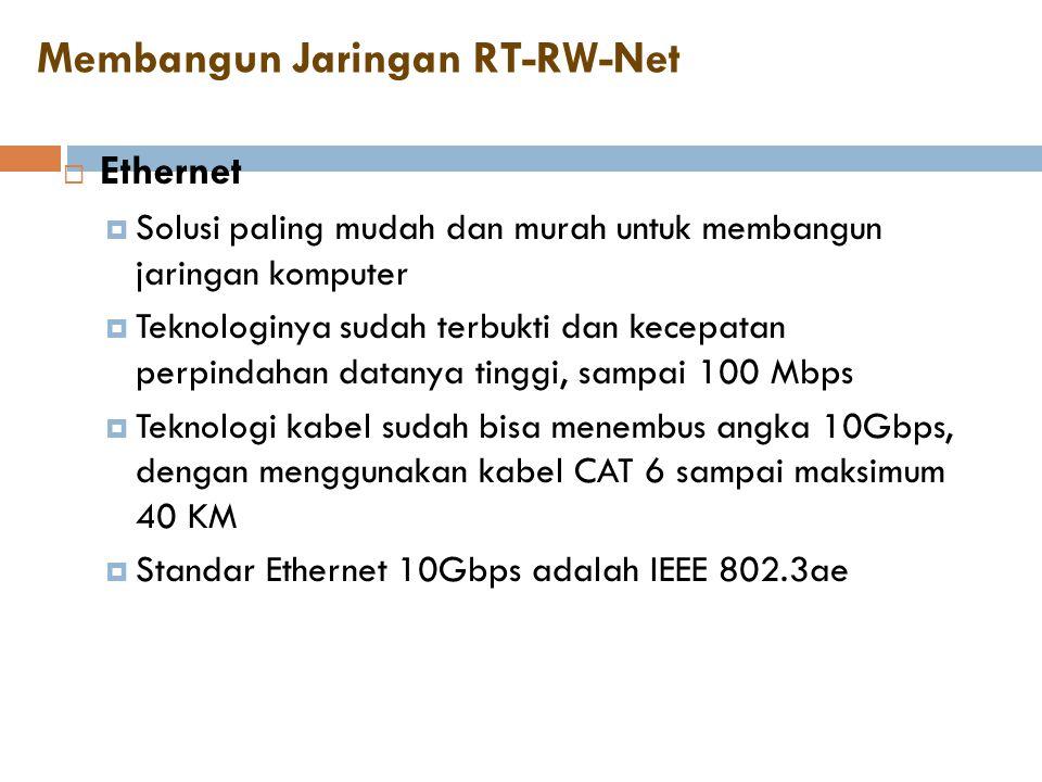Membangun Jaringan RT-RW-Net  Ethernet  Solusi paling mudah dan murah untuk membangun jaringan komputer  Teknologinya sudah terbukti dan kecepatan