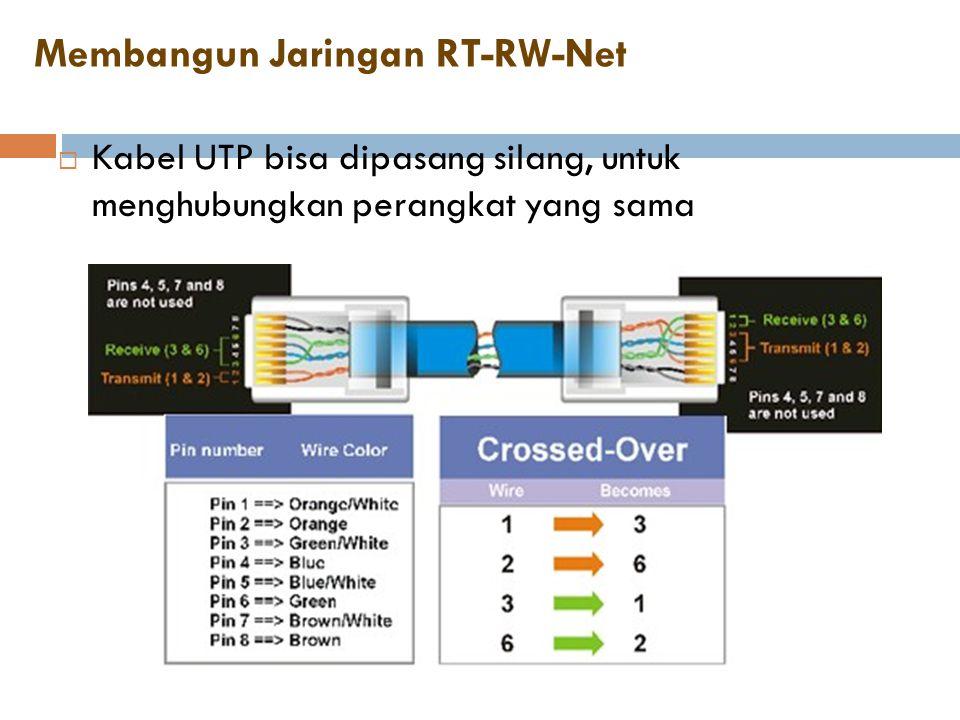 Membangun Jaringan RT-RW-Net  Kabel UTP bisa dipasang silang, untuk menghubungkan perangkat yang sama