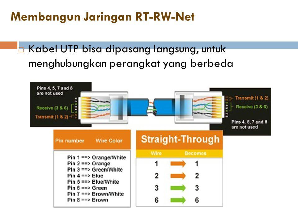 Membangun Jaringan RT-RW-Net  Kabel UTP bisa dipasang langsung, untuk menghubungkan perangkat yang berbeda
