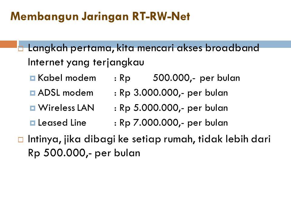 Membangun Jaringan RT-RW-Net  Langkah pertama, kita mencari akses broadband Internet yang terjangkau  Kabel modem : Rp 500.000,- per bulan  ADSL mo