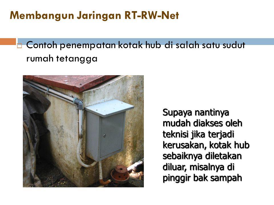 Membangun Jaringan RT-RW-Net  Contoh penempatan kotak hub di salah satu sudut rumah tetangga Supaya nantinya mudah diakses oleh teknisi jika terjadi