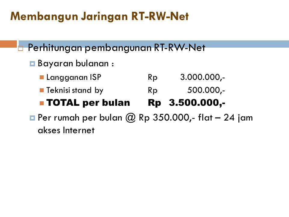 Membangun Jaringan RT-RW-Net  Perhitungan pembangunan RT-RW-Net  Bayaran bulanan :  Langganan ISPRp3.000.000,-  Teknisi stand byRp500.000,-  TOTA