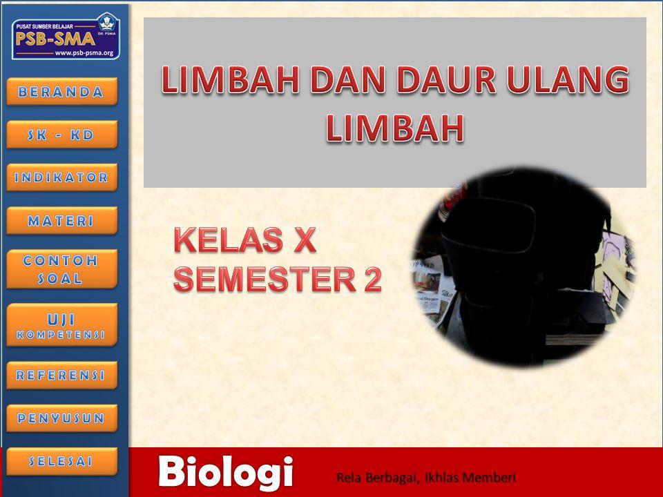 6/28/2014126/28/2014 Biologi Rela Berbagai, Ikhlas Memberi Limbah anorganik dapat dimanfaatkan melalui proses mendaurulang.