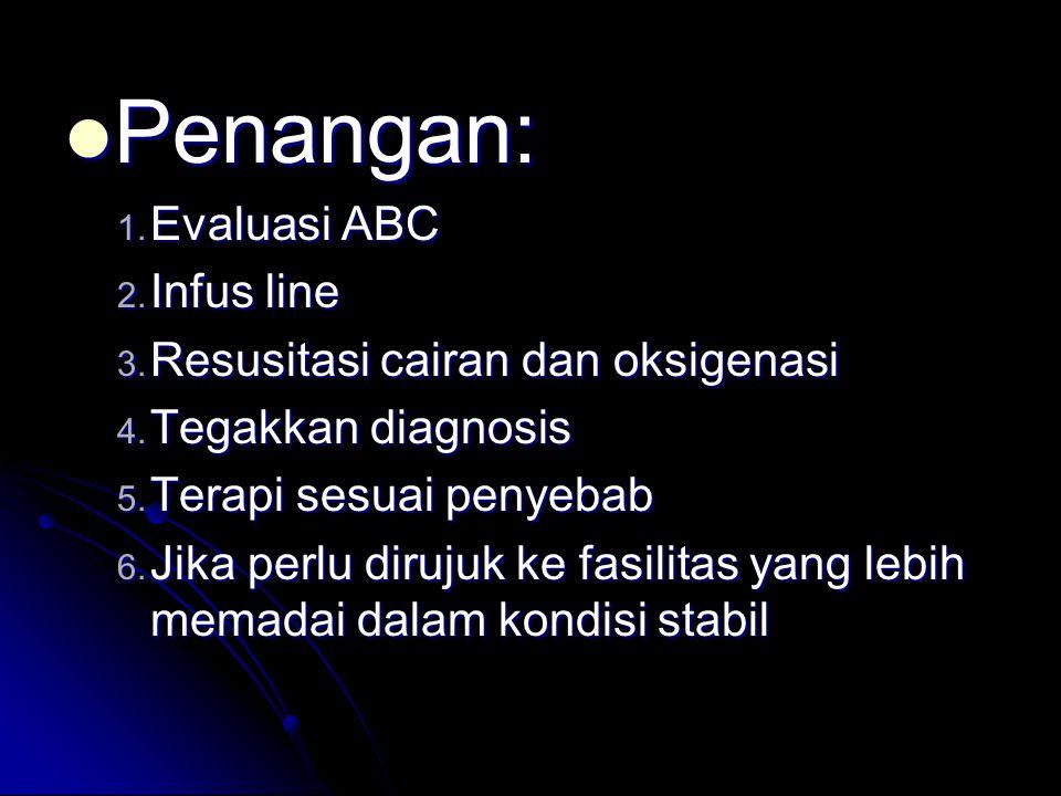  Penangan: 1.Evaluasi ABC 2. Infus line 3. Resusitasi cairan dan oksigenasi 4.
