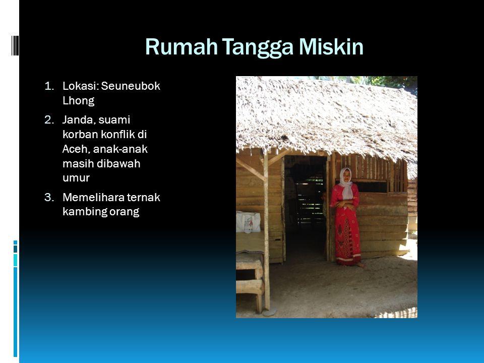 Rumah Tangga Miskin 1. Lokasi: Seuneubok Lhong 2. Janda, suami korban konflik di Aceh, anak-anak masih dibawah umur 3. Memelihara ternak kambing orang