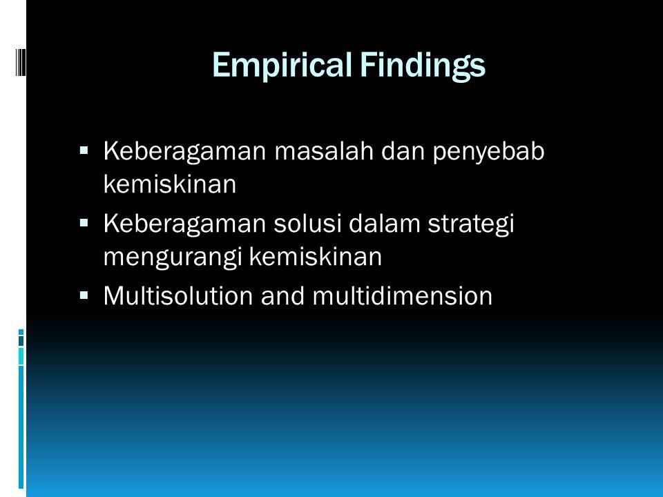 Empirical Findings  Keberagaman masalah dan penyebab kemiskinan  Keberagaman solusi dalam strategi mengurangi kemiskinan  Multisolution and multidimension