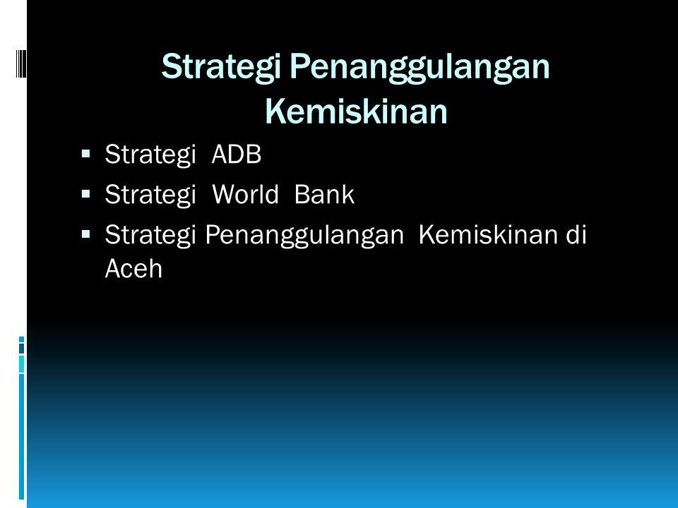 Strategi Penanggulangan Kemiskinan  Strategi ADB  Strategi World Bank  Strategi Penanggulangan Kemiskinan di Aceh