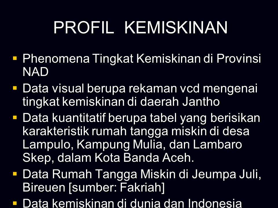PROFIL KEMISKINAN PROFIL KEMISKINAN  Phenomena Tingkat Kemiskinan di Provinsi NAD  Data visual berupa rekaman vcd mengenai tingkat kemiskinan di daerah Jantho  Data kuantitatif berupa tabel yang berisikan karakteristik rumah tangga miskin di desa Lampulo, Kampung Mulia, dan Lambaro Skep, dalam Kota Banda Aceh.