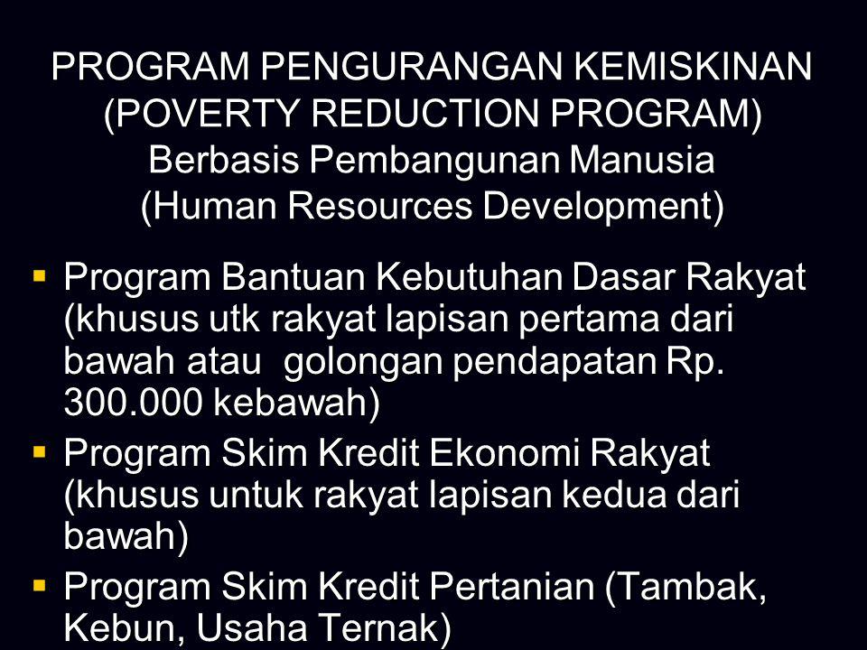 PROGRAM PENGURANGAN KEMISKINAN (POVERTY REDUCTION PROGRAM) Berbasis Pembangunan Manusia (Human Resources Development)  Program Bantuan Kebutuhan Dasa