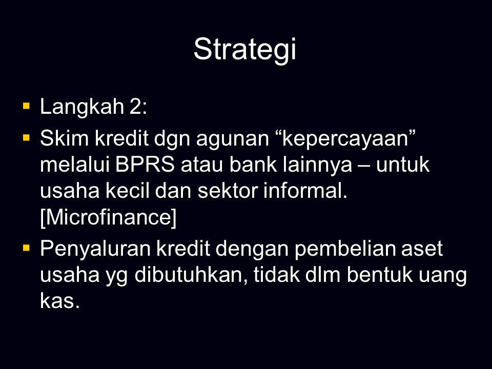 """Strategi  Langkah 2:  Skim kredit dgn agunan """"kepercayaan"""" melalui BPRS atau bank lainnya – untuk usaha kecil dan sektor informal. [Microfinance] """