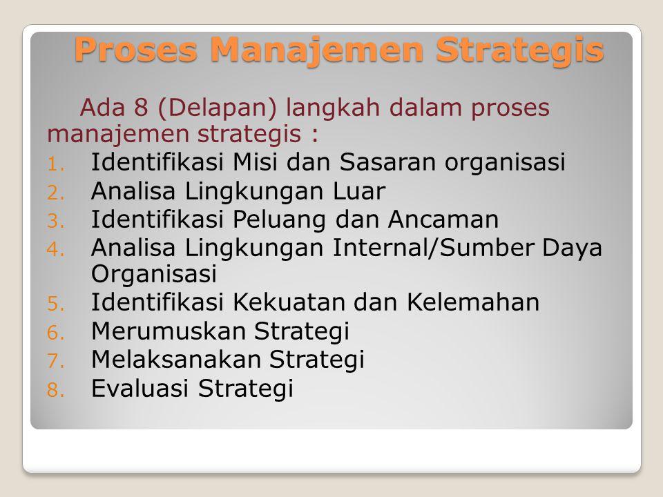 Proses Manajemen Strategis Ada 8 (Delapan) langkah dalam proses manajemen strategis : 1. Identifikasi Misi dan Sasaran organisasi 2. Analisa Lingkunga