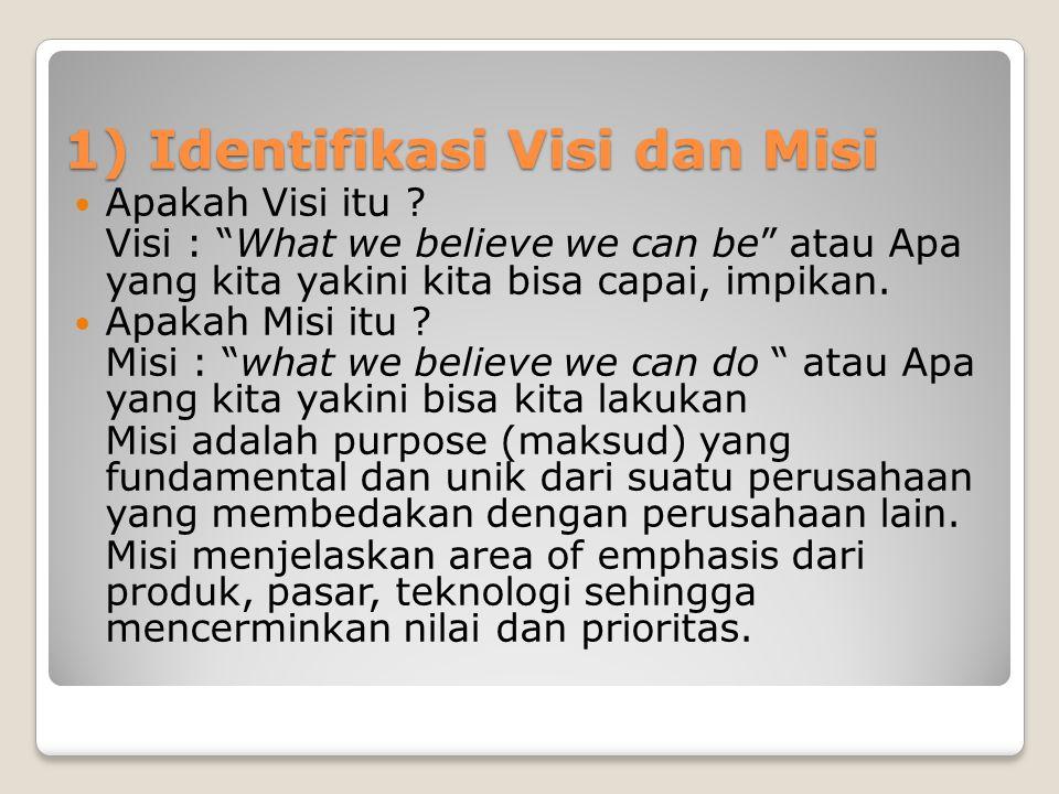 """1) Identifikasi Visi dan Misi  Apakah Visi itu ? Visi : """"What we believe we can be"""" atau Apa yang kita yakini kita bisa capai, impikan.  Apakah Misi"""