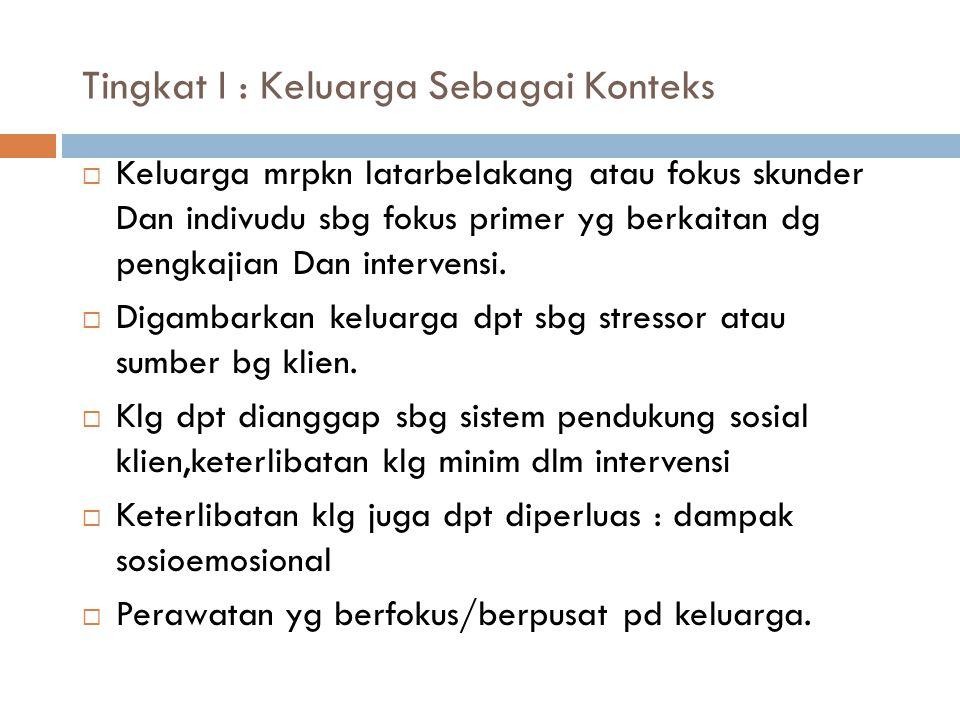 Tingkat II : Keluarga sbg kumpulan dari anggota keluarga  Klg dipandang sbg kumpulan at jumlah individu anggota klg.