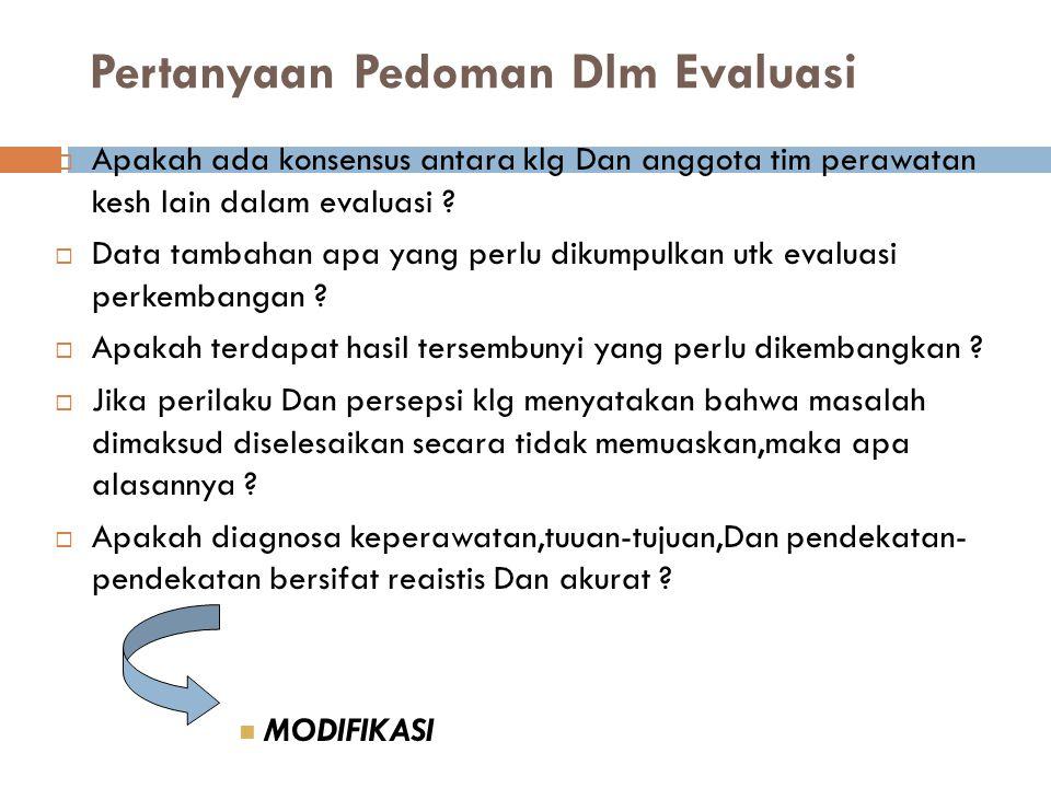 Pertanyaan Pedoman Dlm Evaluasi  Apakah ada konsensus antara klg Dan anggota tim perawatan kesh lain dalam evaluasi ?  Data tambahan apa yang perlu