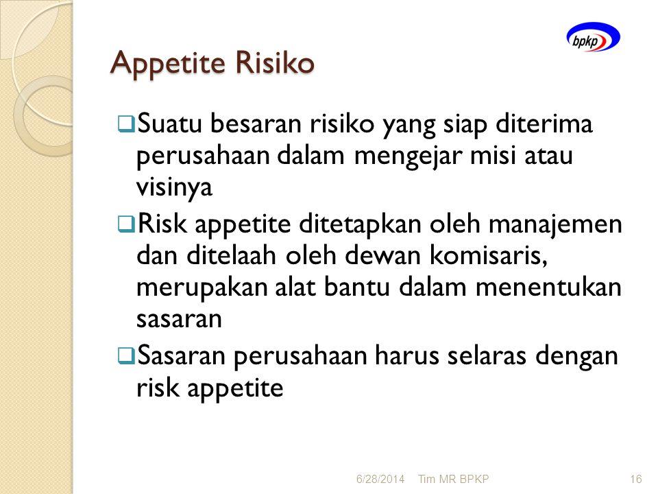 Appetite Risiko  Suatu besaran risiko yang siap diterima perusahaan dalam mengejar misi atau visinya  Risk appetite ditetapkan oleh manajemen dan di