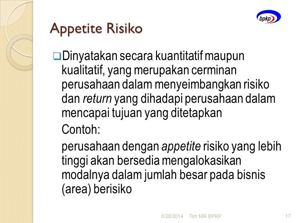Appetite Risiko  Dinyatakan secara kuantitatif maupun kualitatif, yang merupakan cerminan perusahaan dalam menyeimbangkan risiko dan return yang diha