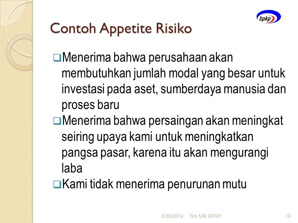Contoh Appetite Risiko  Menerima bahwa perusahaan akan membutuhkan jumlah modal yang besar untuk investasi pada aset, sumberdaya manusia dan proses b