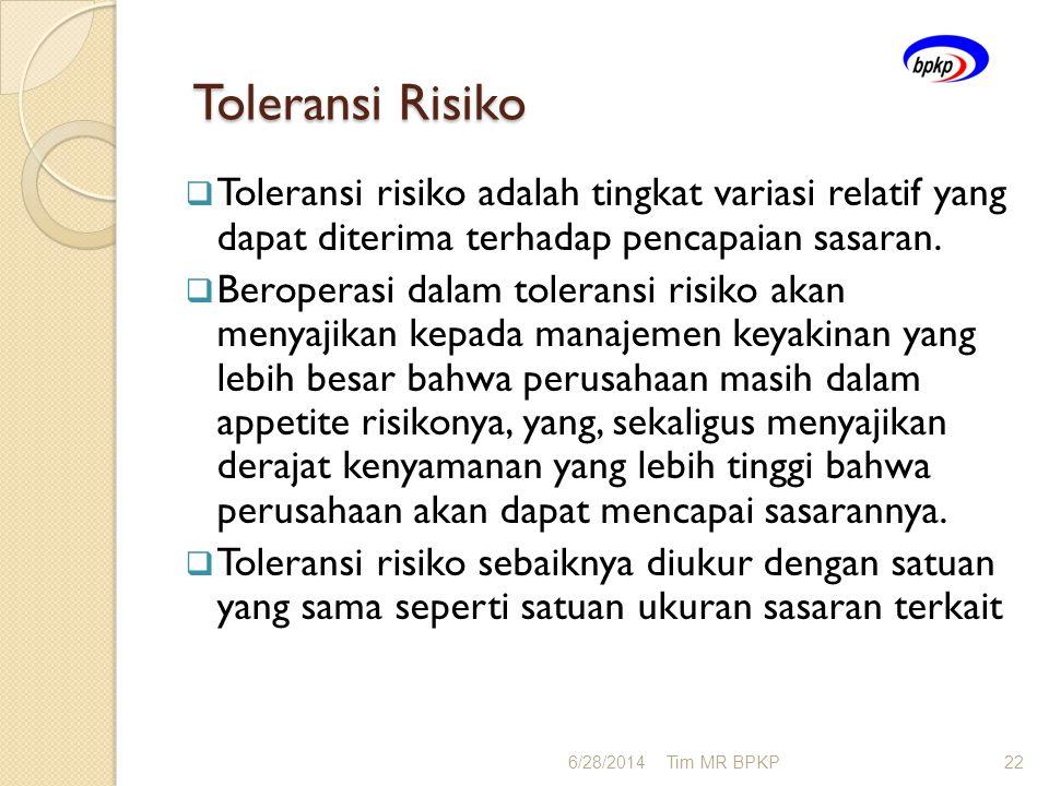 Toleransi Risiko Toleransi Risiko  Toleransi risiko adalah tingkat variasi relatif yang dapat diterima terhadap pencapaian sasaran.  Beroperasi dala