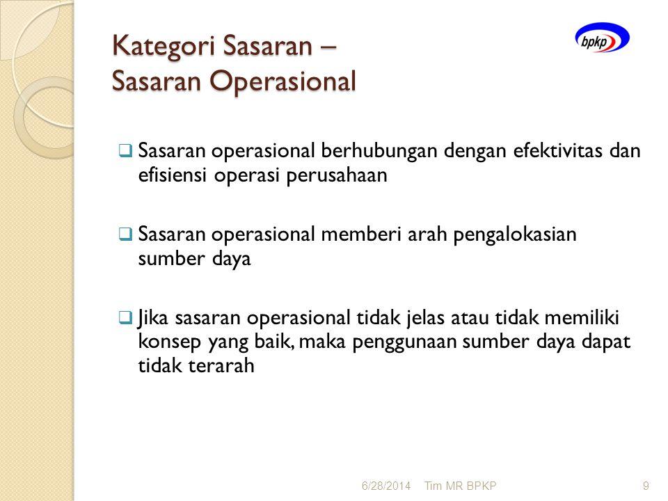 Kategori Sasaran – Sasaran Operasional  Sasaran operasional berhubungan dengan efektivitas dan efisiensi operasi perusahaan  Sasaran operasional mem