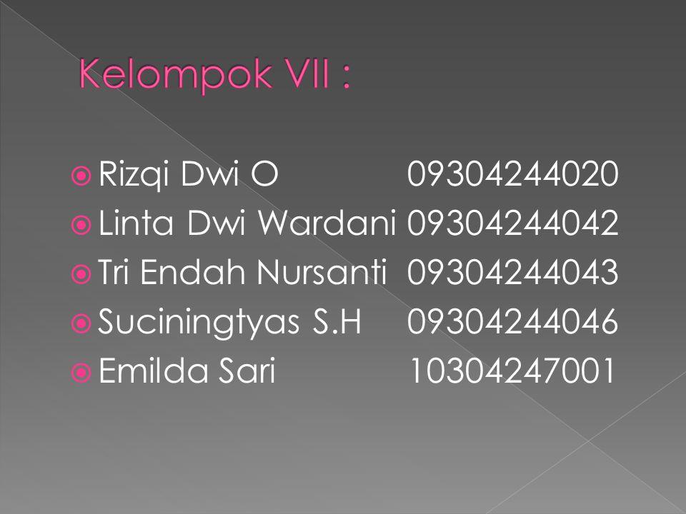  Rizqi Dwi O09304244020  Linta Dwi Wardani09304244042  Tri Endah Nursanti09304244043  Suciningtyas S.H09304244046  Emilda Sari10304247001